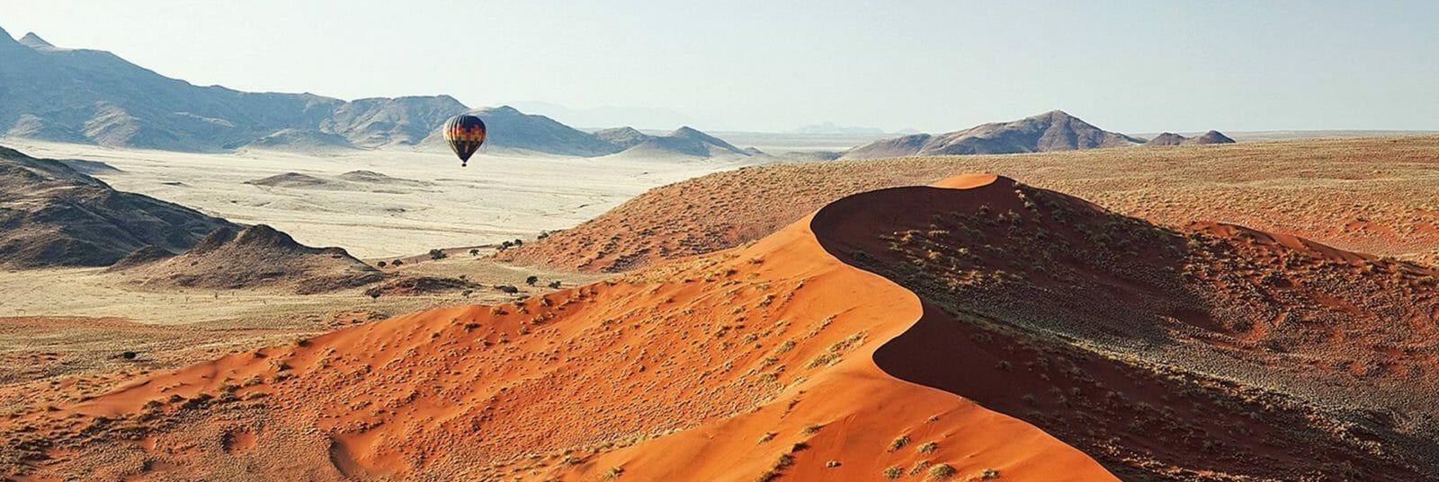 Namib Desert landscape with hot air balloon